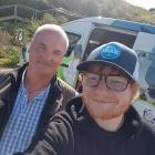 Taiaroa Head manager of operations Hoani Langsbury with Ed Sheeran on the singer's low-key visit...