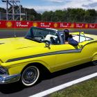 Dunedin electrical engineer Hagen Bruggemann behind the wheel of Evie, the transformed 1957 Ford...