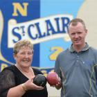 Women's champion Carolyn Crawford and men's champion Brent McEwan at the St Clair Bowling Club,...