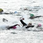 Competitors get under way in the final race of the Squirt open water swim series at the Vauxhall...