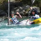 battling it out in the extreme slalom competition are James Suddaby (left) of Mount Aspiring...
