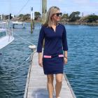 Lissy Clothing founder Melissa Heffernan wears one of her sun-protection dresses. Photo: Supplied