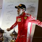 Sebastian Vettel celebrates his win in the Bahrain Grand Prix. Photo: Reuters