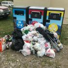 Rubbish that cannot fit into the new BigBelly bins at the Lowburn freedom camping site near...