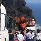The bus was fully engulfed in flames. Photo: Laura Smith