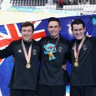 The New Zealand men's sprint team (from left) Sam Webster, Ethan Mitchell and Eddie Dawkins...