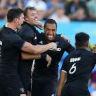 New Zealand celebrate winning the Men's Gold Medal Rugby Sevens Match between Fiji and New...