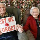 World War 2 veteran Allan Hagan (99) and his wife Hazel spending their first Anzac Day at Ross...