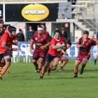 Kurow winger Sam Fleming races through a gap during the Citizens Shield club rugby game at...