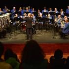 Conductor Philip Craigie leads Mosgiel Brass yesterday afternoon at the King's and Queen's...