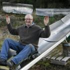Naseby Summer Luge Trust member Eric Swinbourn takes a test run down part of the proposed summer...