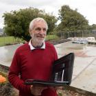 Dunedin Heritage Light Rail Trust spokesman Neville Jemmett checks progress at the site of the...
