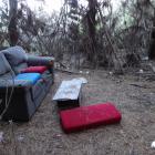 Rubbish left behind at an area near the Reservoir Rd mountain bike track in Oamaru. PHOTO: DANIEL...