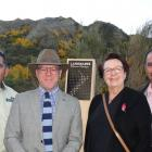 With the new pouwhenua (landpost) are (from left) Geoff Owen from the Department of Conservation,...