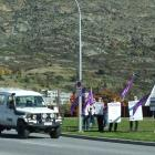 Nurses from Lakes District Hospital protest on Kawarau Rd yesterday. PHOTO: GUY WILLIAMS