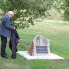 Dave Finlay unveils the memorial plaque acknowledging Sid Hurst as a ''Visionary Farmer and...