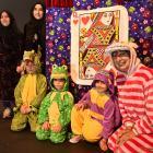 Syrian cast members (from left) Mariam Shahoud (15), Aysha Abdulsalam (14), Walid Abdulsalam (10)...