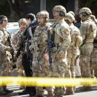 San Mateo County Swat team officers are seen near Youtube headquarters following an active...