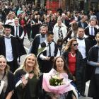 University of Otago graduands parade through Dunedin before their graduation ceremony at the...