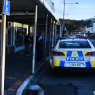 A shop window was broken after a fight erupted in South Dunedin this morning. Photo: Gregor...
