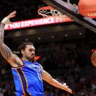 New Zealand centre Steven Adams throws down a dunk for the Oklahoma City Thunder in a game...