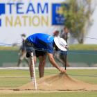 India captain Virat Kohli inspects the pitch at Galle ahead of their test against Pakistan in...