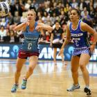 Southern Steel centre Shannon Francois passes under pressure from her Northern Mystics...