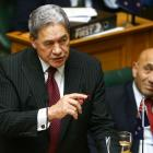 Winston Peters speaks during the Budget presentation at Parliament in Wellington today. Photo:...