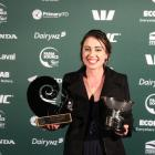 New Zealand Dairy Trainee of the Year Simone Smail, of Invercargill, takes a moment to celebrate...