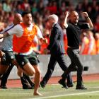 Manchester City manager Pep Guardiola celebrates their first goal scored by Gabriel Jesus Action....
