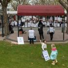 Hundreds of nurses and supporters gather in the Octagon on Saturday to protest about  the working...
