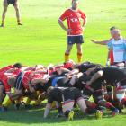 Old Boys and Kurow pack down a scrum during the Citizens Shield rugby game in Oamaru today. PHOTO...