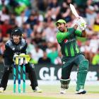 Safraz Ahmed hits a four for Pakistan against New Zealand last summer. He could be doing the same...