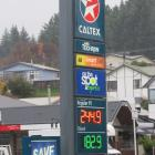 Petrol prices in Wanaka this week. PHOTO: MARK PRICE