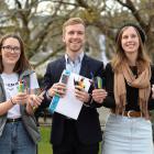 Rotaract Club of Dunedin members (from left) Rebecca Simms (21), Jack Elliotte (22), and Jess...
