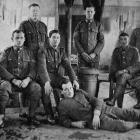 New Zealanders in Sling Camp. Standing (from left): Corporal Taylor, Sergeant Bass, Private...