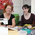 Studio 2 arts facilitator Zoe Fox (left) is helped by Bags for Good co-ordinator Fiona Jenkin to...