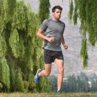 Triathlete Tony Dodds in training in Wanaka earlier this year. Photo by Peter McIntosh.
