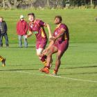 Athletic Marist centre Simon Lilicama kicks off during the North Otago premier rugby game against...