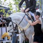 Dunedin equestrian Clarke Johnstone, on horse Balmoral Sensation, and Wanaka groom Lydia Beales...
