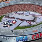 Westpac Stadium created an ice hockey rink especially for the game. Photo: Westpac Stadium via NZ...
