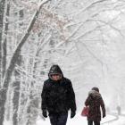 A man walks under falling snow in Maksimir park, in Zagreb, Croatia. Photo: Reuters