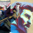 A mural of Argentina's Lionel Messi is painted next to a mural of Portugal's Cristiano Ronaldo....