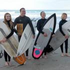 South Coast Boardriders surfers Anika Ayson (14), Duan Reardon, Tash Civil and Luke Rogers (13)...