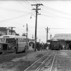 Passengers leaving the Mornington cable car in 1956 to catch the Mary Hill bus on Mailer St....