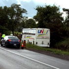 At least 24 people were hospitalised, four with life-threatening injuries, following a bus crash on a major highway leading to the Canadian capital of Ottawa. Photo: Twitter via @VisionZeroCA
