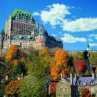 Le Chateau Frontenac with its turrets and gable windows is the archetypal fairy-tale castle in...