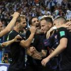 Croatia players celebrate a goal during their drubbing of Argentina. Photo: Getty Images