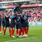 France players celebrate the goal against Peru which sent them to the round of 16. Photo: Getty...