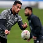 Shannon Frizell passes the ball during an All Blacks training session in Dunedin yesterday. Photo...